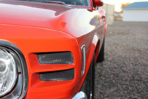 Red 1970 Ford Mustang Boss 302 Front Corner Up Close