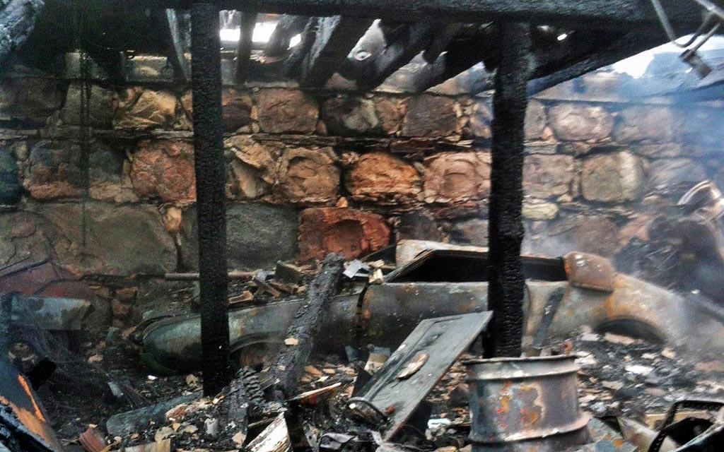 Burning Olds barn