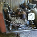 Schramm-Ford air compressor, overall view, still in the barn.