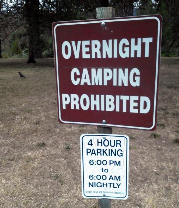 No Overnight Camping!