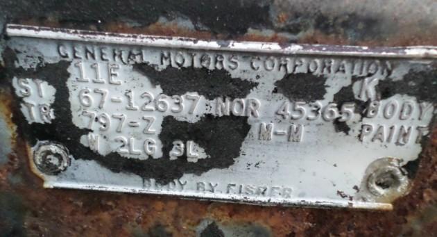 '67 Camero tag