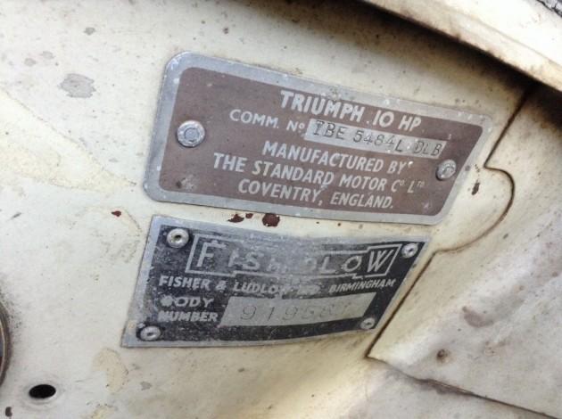 '58 Triumph 4 dr VIN