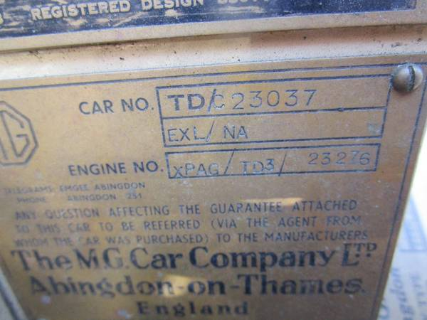 MG TD Number Plate